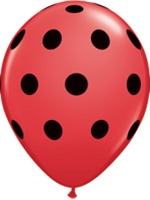 Q37221-11 in latex red with black polka dots