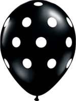 Q37226-11 inch black with white polka latex